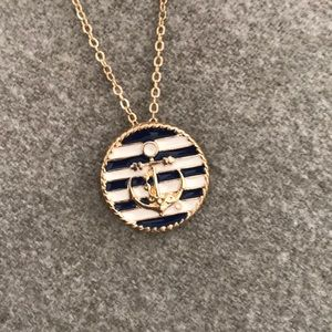 Jewelry - Anchor necklace with navy stripes!